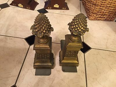 pair antique brass bronze pineapple column chenets converted to bookends