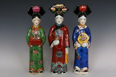 Chinese Beautiful Three Famille Rose Porcelain Queen Statues