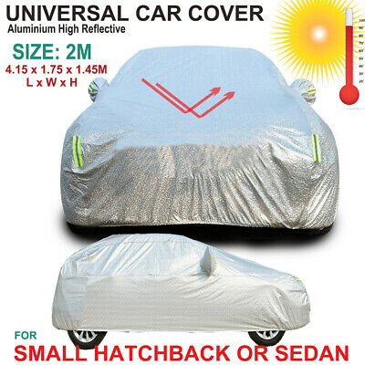 Universal Aluminium Auto Car Cover Rain/UV/Dust Resistant 2M for Small Hatchback