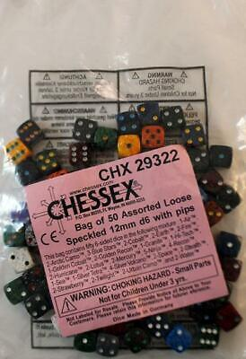 Chessex Dice Speckled 12mm d6 w/Pips Dice (50) SW