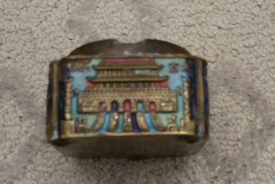12 - Vintage Brass Chinese Asian Ashtray, Enamel (?) Color Painted