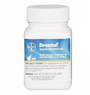 Bayer Drontal Broad Spectrum Dewormer Cats & Kittens 2-16 lbs 50 Tablets