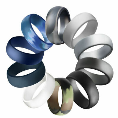 1/4Pack Men Silicone Wedding Ring Silicone Band Sport Workout Rubber Band Rings