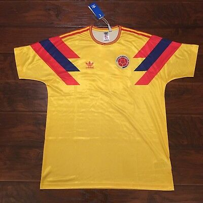 5f5d7edc066 1990 Colombia Home Jersey #10 Valderrama Large Adidas World Cup Soccer NEW