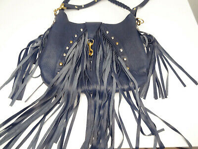 53ada757618 JJ WINTERS STUDDED Long-Fringe Navy-Leather LG Shoulder-Bag/Satchel ...
