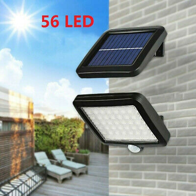 Solar Powered PIR Motion Sensor Outdoor Garden Light Security Flood Lamp 56 LEDS