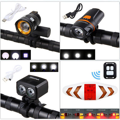 USB Rechargable 5000LM T6 LED Bicycle Headlight Remote Rearlight Warn Taillight