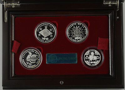 2004 100 YEARS OF FIFA AND WORLD FOOTBALL  4 COIN SILVER PROOF SET - boxed/coa