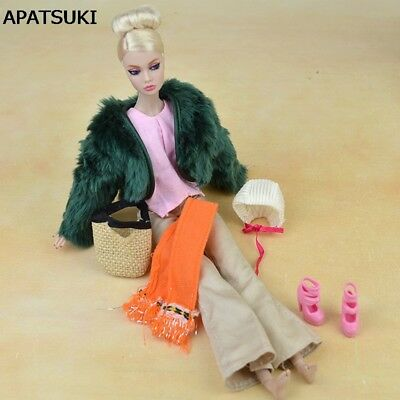 "Doll Accessories Set Fur Coat Fashion Clothes For 11.5"" Doll Pants Scarf Shoes"