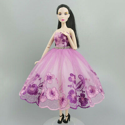 "Purple Flower Costume Dress Lace Dresses For 11.5"" Doll 1/6 Fashion Clothes Toy"