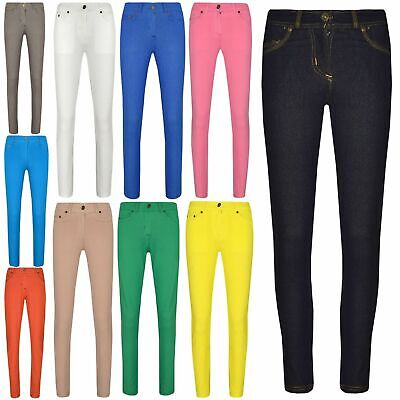 Girls Skinny Jeans Kids Denim Stretchy Jeggings Pants Coloured Trousers 5-13 Yrs