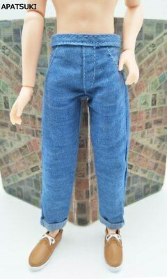 Handmade Blue Jeans Trousers For Ken Doll Long Pants For 1/6 Boyfriend Ken Toy