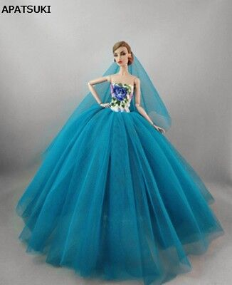 Chinese Flower Floral Dresses For 1/6 Doll Clothes Party Gown Clothes Outfits