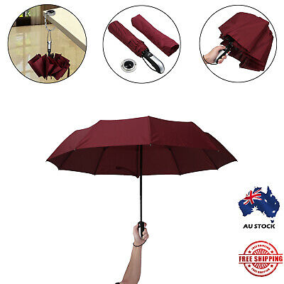 Red Portable Auto Folding Umbrella Windproof Compact With 10 Fiberglass Frames