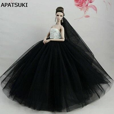 "White Black Doll Dresses Evening Gown Clothes Wedding Dress For 11.5"" Doll 1/6"