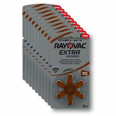 Rayovac Extra Advanced Hearing Aid Batteries Size 312 Brown Tab PR41 Pack of 60