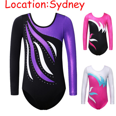 3-12Y Leotards Gymnastics Girls Ballet Stretchy Dancewear Rhinestone Long Sleeve