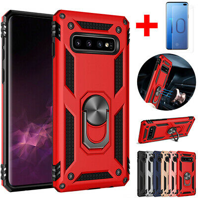 For Samsung Galaxy S10 Plus S10E Armor Stand Military Case+Screen Protector