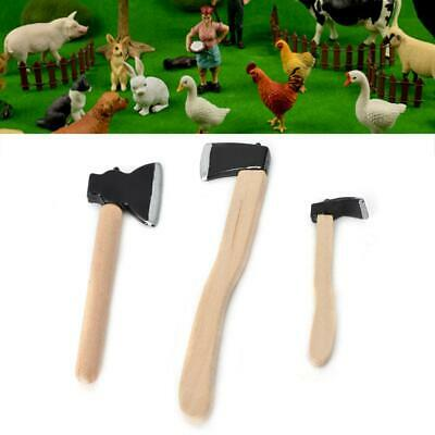 3Pcs Doll House Miniature 1:12 Scale Garden Farming Tools 2 Axes and Hoe Set BS