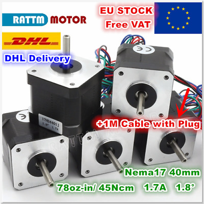 【UK】5Pcs Nema17 40mm CNC Stepper Motor 4-lead Cable Connect 3D Printer Milling