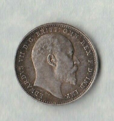 1905 Edward Vii Silver Maundy Four Pence In Near Mint Condition.