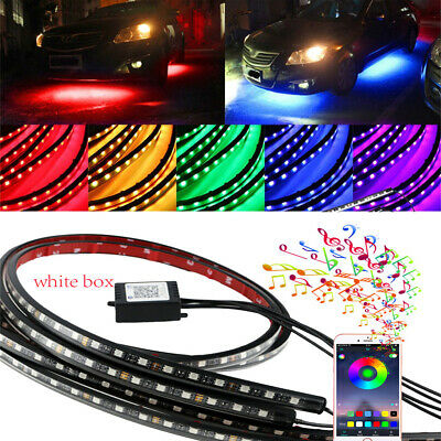 LED Light Strips Car Truck Underbody Under Glow Neon Lamp Phone Remote Control