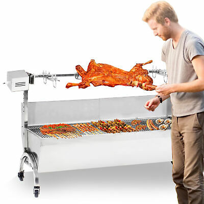 """Stainless Steel BBQ,Pig,Lamb,Goat,Chicken Spit Roaster,Rotisserie Spit 46"""" Large"""