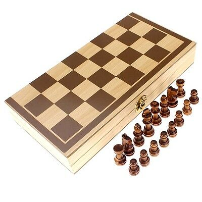 Wooden Chess Set Folding Board Box Wood Hand Crafted Carved Gift Kids Toy IR