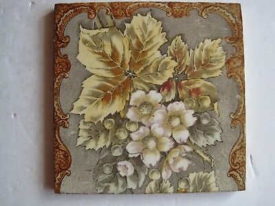 ANTIQUE VICTORIAN TRANSFER PRINT & TINT WILD ROSE TILE DESIGN No.2530