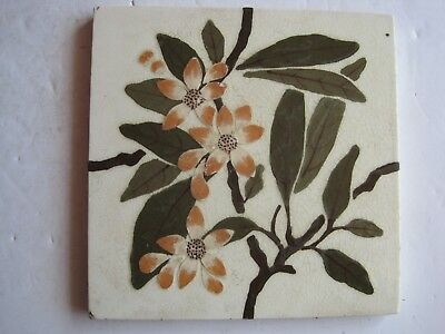 ANTIQUE VICTORIAN WEDGWOOD PATENT IMPRESSED & HAND PAINTED WALL TILE c1895
