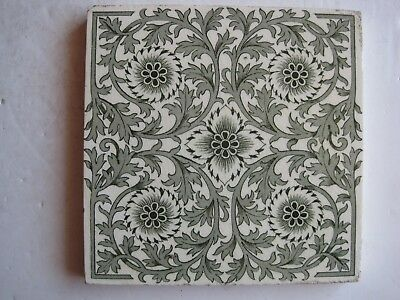 Antique Victorian Mintons Green Transfer Print Aesthetic Floral Wall Tile