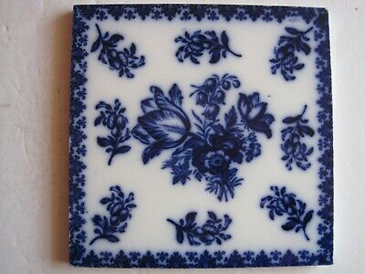"Antique Victorian 8"" Copeland Late Spode Blue On White Transfer Print Tile"