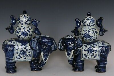 Chinese Beautiful Pair Blue and White Porcelain Elephant Statues