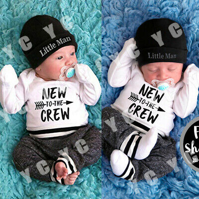 AU Stock Infant Newborn Baby Boy Romper+Pants Outfit Clothes Bodysuit Playsuit