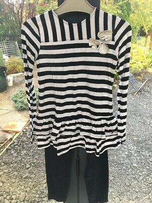 Girls Black/white  Top & Leggings Outfit (6X Years)