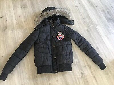 Paul's Boutique black warm hooded puffa jacket coat for girl size S