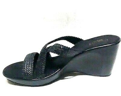 7bed5bce25 WOMENS DAMIANIS BLACK Slides Sandals 11M Italy Silver Decor Held By ...