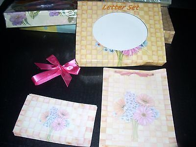 Stationary Set Social Expressions Flowers Basket Weave Note Paper And Envelopes