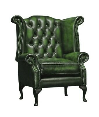 Chesterfield High back Queen Anne chair and footstool in Antique Green Leather