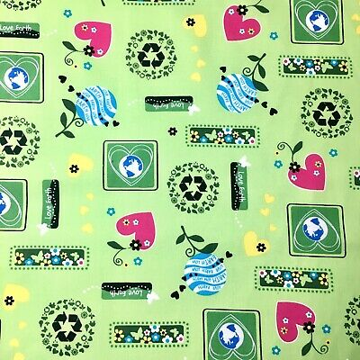 1/2 M Love Earth Day Novelty Recycle Sign Green Cotton Sewing Quilting Fabric
