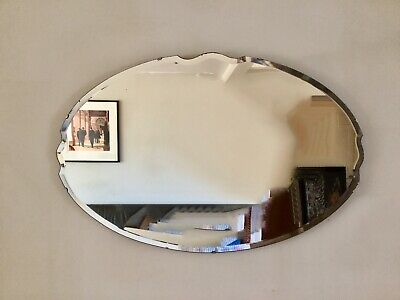 Art Deco LARGE oval bevelled edged wall mirror Frameless Vintage Retro Antique