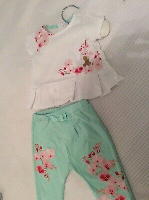 Baby girls ted baker white with green 2 piece 0-3 months