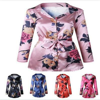 Womens Short Dresses Top Lace Up Sexy Shirt Printed Floral V-neck Chic Hot Size