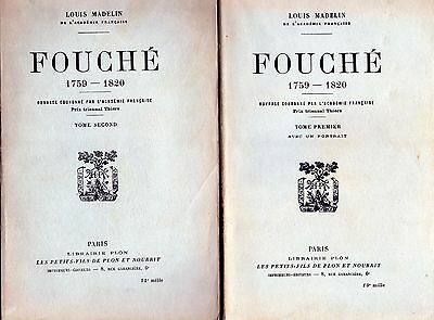 C1 NAPOLEON Louis Madelin FOUCHE Texte Integral COMPLET EN 2 TOMES 1930 Police