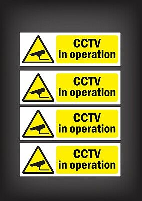Cctv In Operation - * Pack Of 4 * Security Window Stickers