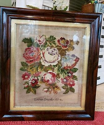 c1870 Antique RARE Flame Mahogany & Gold Frame Large 27 x 30 STUNNING