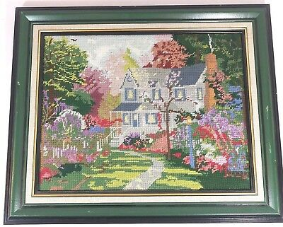 Victorian House Completed Cross Stitch Studio Decor Action Matted Framed