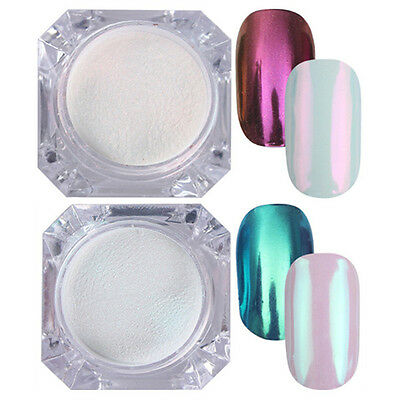 BORN PRETTY 2 Boxes Mirror Nail Glitter Powder Dust Nail Art Pigment Decor Tips