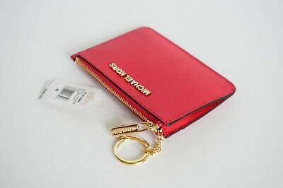 bbaf09668249 Michael Kors Jet Set Coinpouch Id Key Ring Card Holder Leather Electric Pink