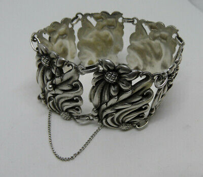 Vintage Signed VIKING CRAFT Sterling Silver SUNFLOWER BRACELET 84.9g Heavy 7.25""